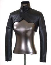 Womens 100% Genuine Lambskin Leather Cropped Moto Slim Fit Bolero Biker Jackets