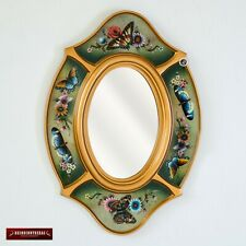Oval Wall Mirror decorative, Handpainted Glass Wood Accent Oval Mirror for wall