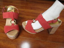 NEW COACH Valeann Open Toe Sandals with Cork Heels Womens 9.5 Coral/Tulip
