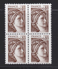 FRANCE N° 2118a ** MNH, Variété sans bande de Phosphore, bloc 4, TB, cote: 32 €