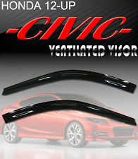 Smoke 2012-2015 Civic Coupe Window Visor Vent Shade Rain/Sun Guard Deflectors