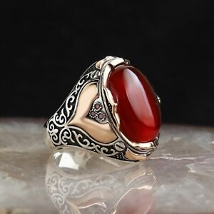 SOLID 925 STERLING SILVER MENS JEWELRY FIRE AGATE MENS RING