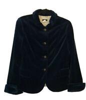 New J Crew Bella Jacket Sz 10 Royal Blue Velvet Fitted Lined Blazer Notch Sleeve