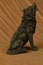 Art Deco Bronze Sculpture Statue Hot Cast Canine Wolf Howling at Moon Garden LRG