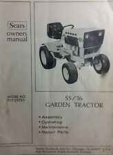 Sears Suburban SS/16 Lawn Garden Tractor Owner & Parts Manual 917.25750 Onan BF