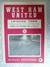 1963 League Cup - WEST HAM UNITED v SWINDON TOWN,  4th RD REPLAY- 25th Nov