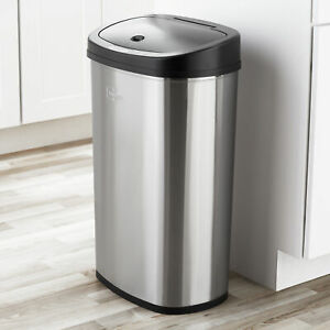 Trash Can Motion Sensor 13 Gal Stainless Steel Kitchen Garbage Hands Free Lid