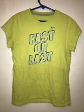 Nike Girls T-Shirt Size Medium Fast or Last Lime Green Blue Spell Out *Flaws*