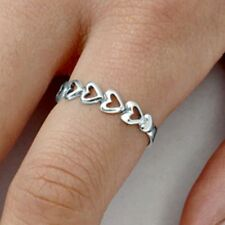 .925 Sterling Silver Ring size 9 Heart Midi Knuckle Fashion Kids Ladies New bb51