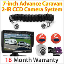 "Caravan 2 Camera 4PIN System Trailer Suzi Cable 7"" Monitor 12V/24V Reversing CCD"