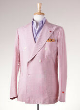 NWT $2695 ISAIA NAPOLI Pink-White Cotton-Silk Sport Coat 42 R + Hanger/Coral Pin