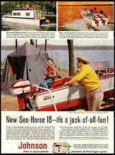1958 Johnson Sea Horse 18 Jack of All Fun Tent Boy Photo Vintage Print Ad