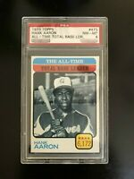 HANK AARON 1973 Topps All-Time Total Base Leader PSA 8 NMM : HA 73T#100 sold$600