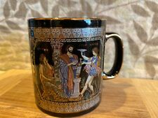 Coffee Mug Hand Made in Greece 24k Gold Parthenon and Zeus Bold Bright Colors
