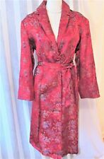 Vintage Chinese red embroidered rayon coat sz 12-14 Xl
