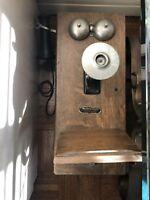 Antique Telephone Montgomery Ward Company Wood Phone Rare