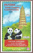 Firecracker Label Panda Image Refrigerator / Tool Box Magnet Man Cave