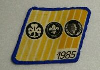 Vintage commemorative cloth arm badge 1985, Scouts Girl Guides combo.