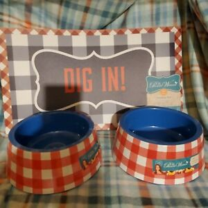 Pioneer Woman Large Melamine Pet Bowl Set Of 2 Red Charming Check Feeding Mat