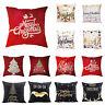 Christmas Pillow Case Glitter Cotton Linen Sofa Throw Cushion Cover for Decor