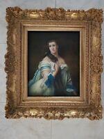 quadro dipinto a mano su tela cornice in legno foglia oro barocCO classico 71X81