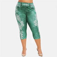 High Waist Printed Croped Pants Trousers Slim Elastic Stretch Skinny Leggings