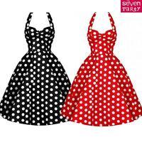Womens Vintage 1950s 60s Rockabilly Dress Polka Dot Halter Style Swing Dress UK