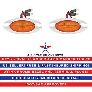 "4"" Oval Side Marker Light 4 LED Amber Chrome Bezel Freightliner Trailer-QTY 2"