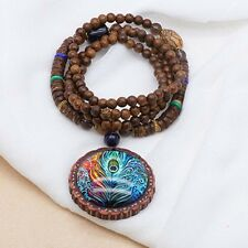 Wooden Vintage Lady Round Pendant Chain Women Peacock Long Feather Sweater