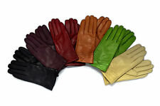Ladies Soft Real Genuine Leather Fur Lined Gloves with fan wrist detail