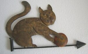 Iron Cat playing with ball weather vane . Embossed