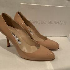 Manolo Blahnik Lisa Nude Patent Leather Almond Pointed Pump Shoes Sz 7 / EU 37