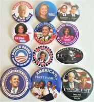 12 Presidential Campaign Buttons Biden Obama Hillary Romney McCain etc   SET55DD