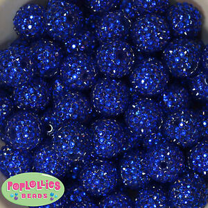 20mm Deep Royal Blue Rhinestone Resin Chunky Bubblegum Beads 20 pc Gumball