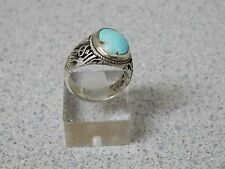COSTUME DESIGN CARVE CUT HANDMADE MEN'S SILVER RING WITH BLUE PERSIAN TURQUOISE