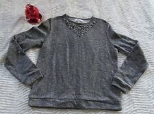 Forever 21 French Terry Rhinestone Necklace Pullover Heather Gray Junior's Med