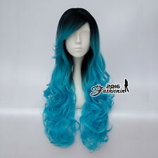 75CM Lolita Black Mixed Blue Curly Long Women Ombre Cosplay Wig Heat Resistant