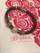 NEW Brighton WOODSTOCK Plum Shimmer Leather Bracelet With Gold Beads