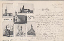 Ayer,Massachusetts,5 Churches,Middlesex County,Used,RPO Cancellation,1907