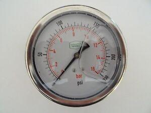 """0-230 psi 100 mm Glycerine Filled Pressure Gauge 1/4"""" Back Entry"""