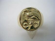 Any FAMILY CREST Seal Engraved Crest Signet Ring made to order. 9ct gold.