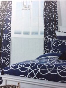 """Dorma Navy And White Curtains Blackout Lining Size 137cm X168 Cm  66"""" X54"""" NEW"""