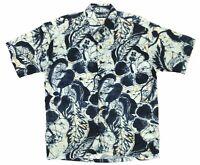 Vintage Iolani Hawaii Mens Small Multicolor Rayon Abstract Floral Hawaiian Shirt