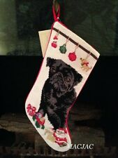 Black Pug Dog Needlepoint Christmas Stocking NWT
