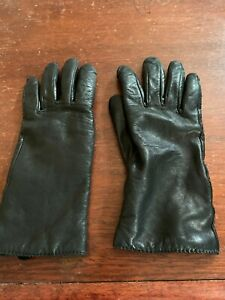 Vintage PRESTON & YORK Leather Gloves Size 7 - Black Lined Women Winter