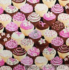 BonEful Fabric FQ Cotton Quilt Pink Brown White Breast Cancer Lady Cup*cake Girl