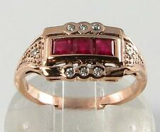 CLASS LARGE 9CT ROSE GOLD INDIAN RUBY & DIAMOND ETERNITY RING FREE RESIZE