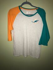 Pre-owned ~ Miami Dolphins Logo Nike Long-Short Sleeve T-Shirt (SM, Gray)