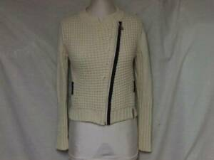 """DUCK&COVER CREAM KNITTED ZIP UP CARDI JACKET TOP LADIES S CHEST 33"""" TEEN GIRL"""