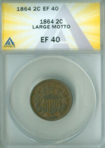 1864 Two Cent Piece 2c Large Motto  ANACS EF-40 FREE S/H (2126425)